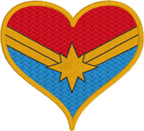 Mrs. Marvel heart machine embroidery design 4x4 and 2.5x2.5