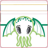 Cutie Cthulhu Partially lined zip bag 4x4 ITH machine embroidery design