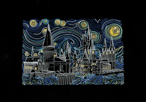 Starry Castle 6x9 machine embroidery design