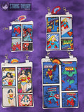Comic Book Panel Applique Zip Bag Fully Lined SET 4 sizes with KAPOW dangle ITH MACHINE EMBROIDERY DESIGN