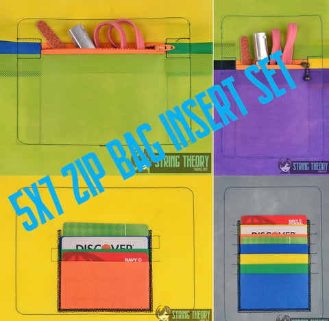 Zip Bag Inserts 5x7 horizontal & Vertical, Credit Card & Zip Pocket ITH machine embroidery design