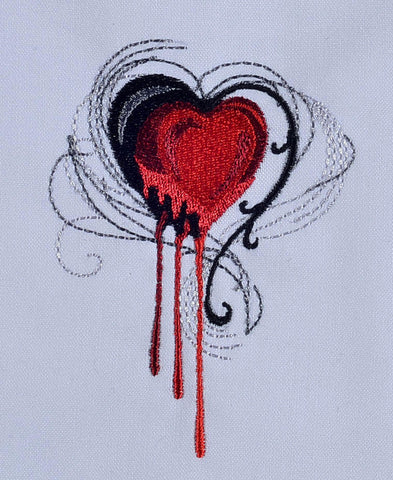Gothic Heart Machine Embroidery Design 4x4
