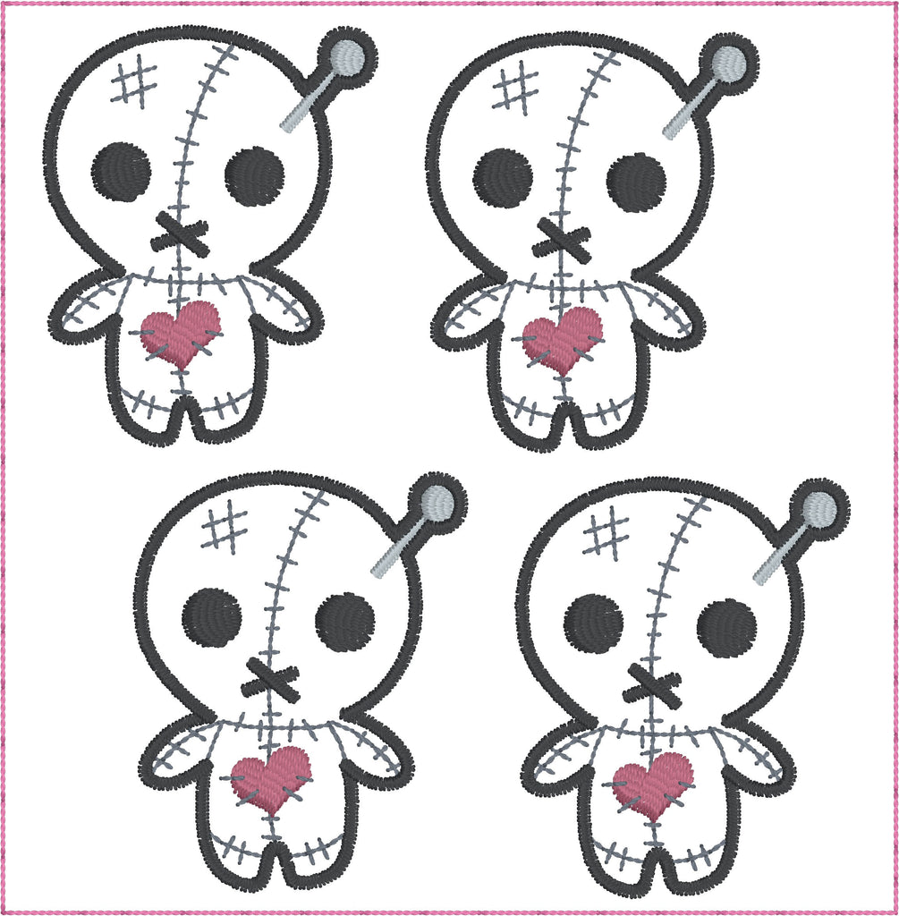 Cute voodoo doll ITH feltie 4 to the hoop machine embroidery design