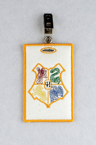 Hogwarts Crest ID Badge holder ITH machine embroidery design 4x4