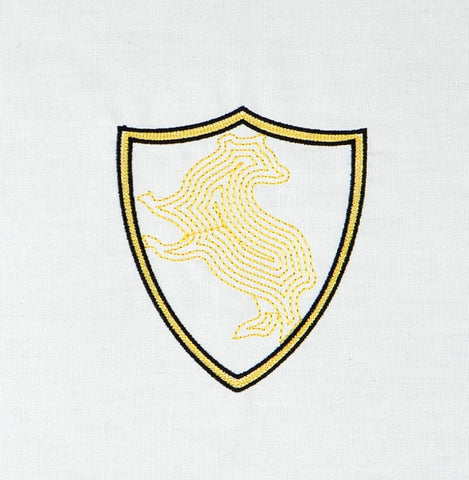 Spell Academy Badger Coat of Arms minimalist crest no banner machine embroidery design 4x4