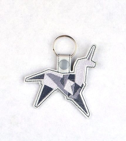 Blade Runner Origami Unicorn snap tab key fob ITH machine embroidery design 4x4