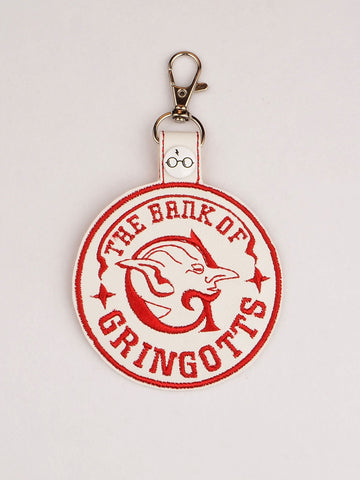 Bank of Gringotts snap tab key fob ITH 4x4 machine embroidery design