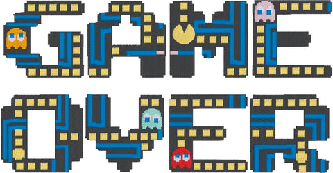 Video Game Over Machine Embroidery Design 5x7