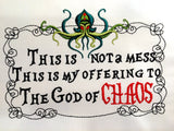 Offering to God of Chaos 5x7 machine embroidery design