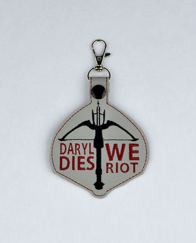 Daryl Dies We Riot snap tab key fob 4x4 ITH machine embroidery design