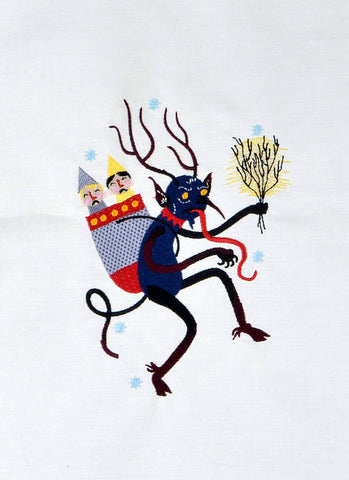 Old School Krampus machine embroidery design 5x7