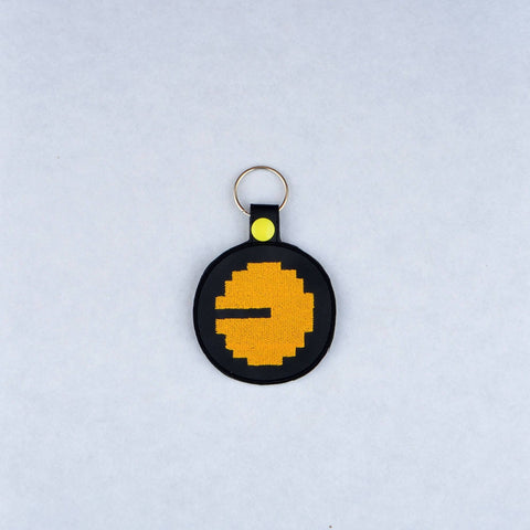 Yellow Gobbler snap tab key fob ITH 4x4 machine embroidery design