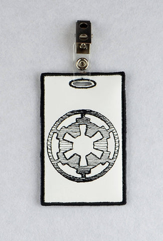 Imperial symbol ID Badge holder ITH machine embroidery design 4x4