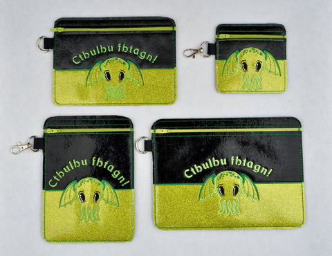 Cutie Cthulhu Partially lined zip bags FOUR SIZES ITH machine embroidery design