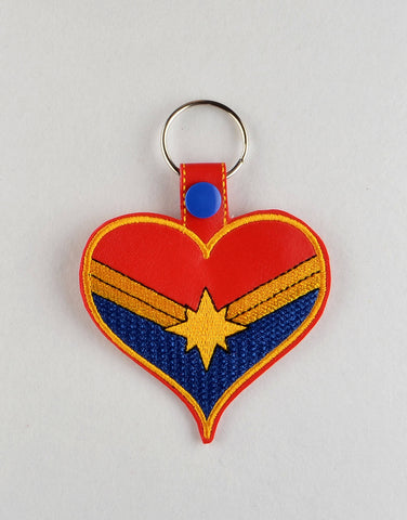 Mrs. Marvel snap tab key fob ITH machine embroidery design 4x4