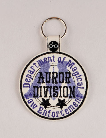 Auror Division snap tab key fob ITH 4x4 machine embroidery design