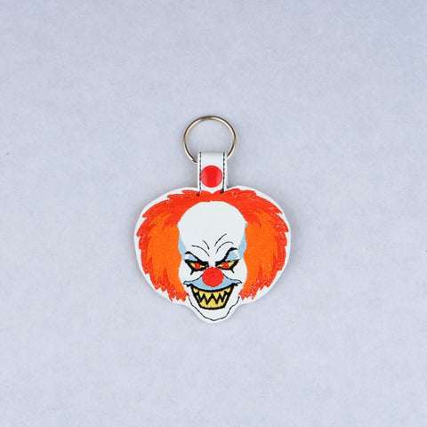 Psycho Clown snap tab key fob ITH machine embroidery design