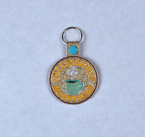 Adult Merit Badge Successfully Morninged key fob snap tab ITH embroidery pattern 4x4