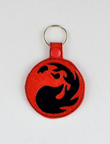 Magic the Gathering Red Mana snap tab key fob ITH 4x4 machine embroidery design