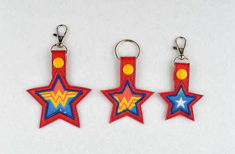 Fabric Feature Star snap tab key fob THREE SIZES ITH 4x4 machine embroidery design