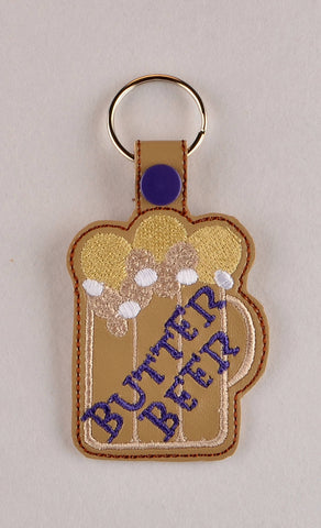 Butterbeer ITH snap tab key fob 4x4 machine embroidery design
