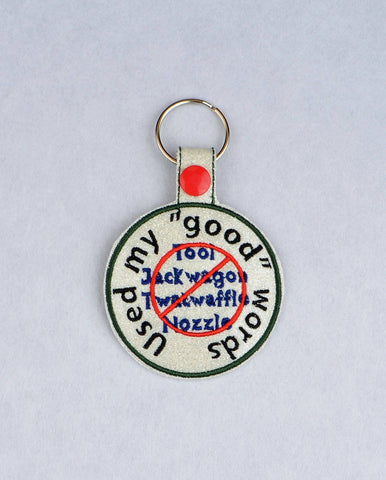 Adult Merit Badge Good Words key fob snap tab ITH embroidery pattern 4x4