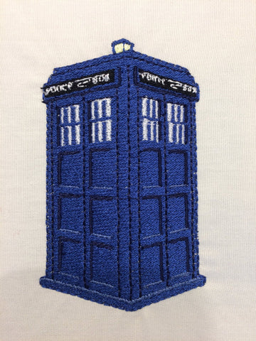 Blue Police Box Machine Embroidery Design 4x4