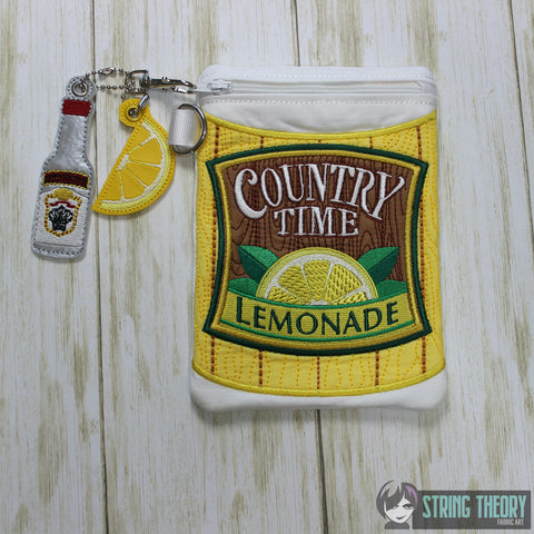 Lemonade Zip Bag Fully Lined 7x11 with 2 dangles ITH MACHINE EMBROIDERY DESIGN