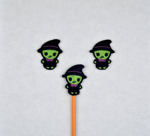 Cute witch pencil topper 3 ITH machine embroidery design 4x4