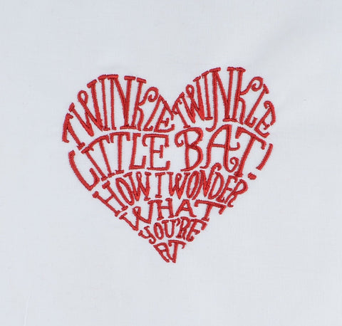 Alice in Wonderland Little Bat Heart 4x4 machine embroidery design