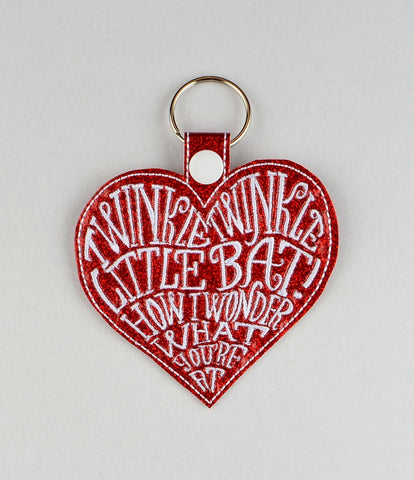 Alice in Wonderland Little Bat Heart ITH snap tab key fob 4x4 machine embroidery design
