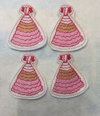 Kaylee's Dress ITH feltie 4 to the hoop machine embroidery design 4x4