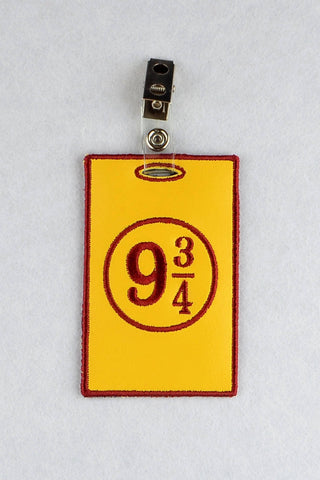9 3/4 ID Badge holder ITH machine embroidery design 4x4