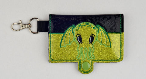 Cutie Cthulhu ITH Bi-fold wallet 5x7 machine embroidery design