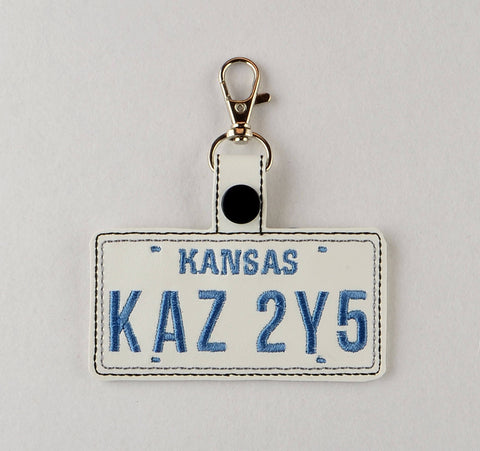 Supernatural Baby's License Plate snap tab key fob ITH 4x4 Machine embroidery design