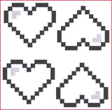 8 Bit heart feltie ITH machine embroidery design