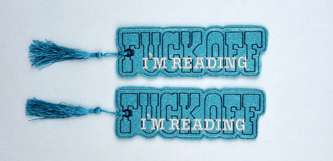 F*ck off I'm reading traditional style book mark 2ITH 5x7 machine embroidery design