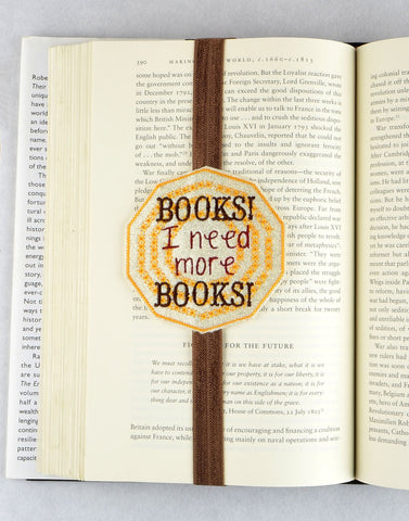 Need More Books bookmark ITH machine embroidery design 4x4