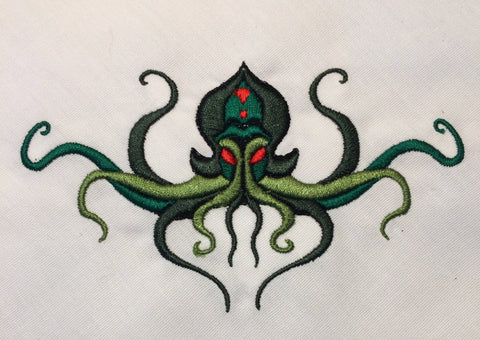 Cthulhu diagonal placement machine embroidery design 4x4