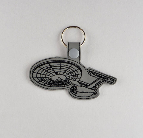 USS Enterprise snap tab key fob ITH 4x4 machine embroidery design