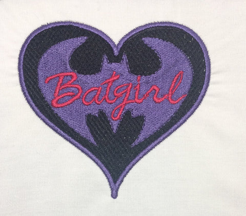 Batgirl heart machine embroidery design 4x4 and 2.5x2.5