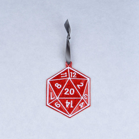 D20 Geek-mas ornament machine embroidery design