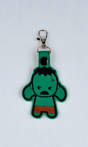 Chibi Angry Green Hero snap tab key fob 4x4 machine embroidery design