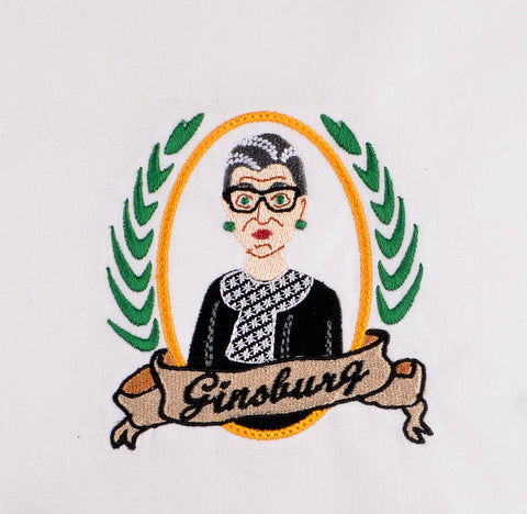 Supreme Court Justice Ruth Bader-Ginsburg 4x4 machine embroidery design