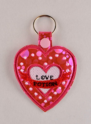 Amortentia Love Potion ITH snap tab key fob 4x4 machine embroidery design