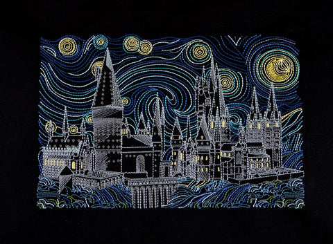 Starry Hogwarts 7x12 machine embroidery design