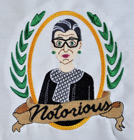 Notorious RBG 5x7 machine embroidery design