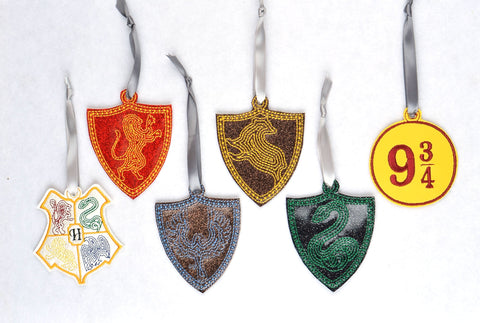 Harry Potter ornament set (6 designs) ITH machine embroidery design 4x4