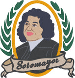 Supreme Court Justice Sotomayor 4x4 machine embroidery