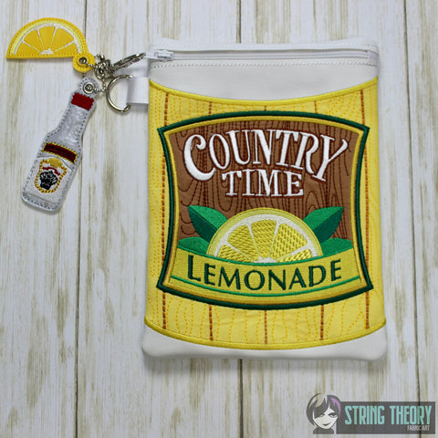 Lemonade Zip Bag Fully Lined 8x12 with 2 dangles ITH MACHINE EMBROIDERY DESIGN